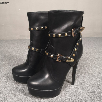 Olomm New Arrival Women Winter Ankle Boots Stiletto High Heel Boots Round Toe Gorgeous Black Party Shoes Women Plus US Size 5-15
