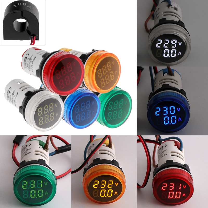 22MM AC50-500V 0-100A Digital LED Voltmeter Voltage Meter Indicator Pilot Light Ammeter Ampermeter Current Tester 2 In 1 With CT