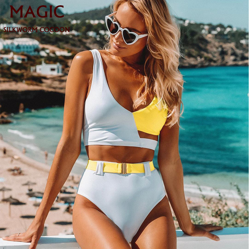 Sexy Bikinis Women Swimsuit High Waisted Bathing Suits Swim Halter Push Up Bikini Set Pachwork Plus Size Swimwear Beachwear