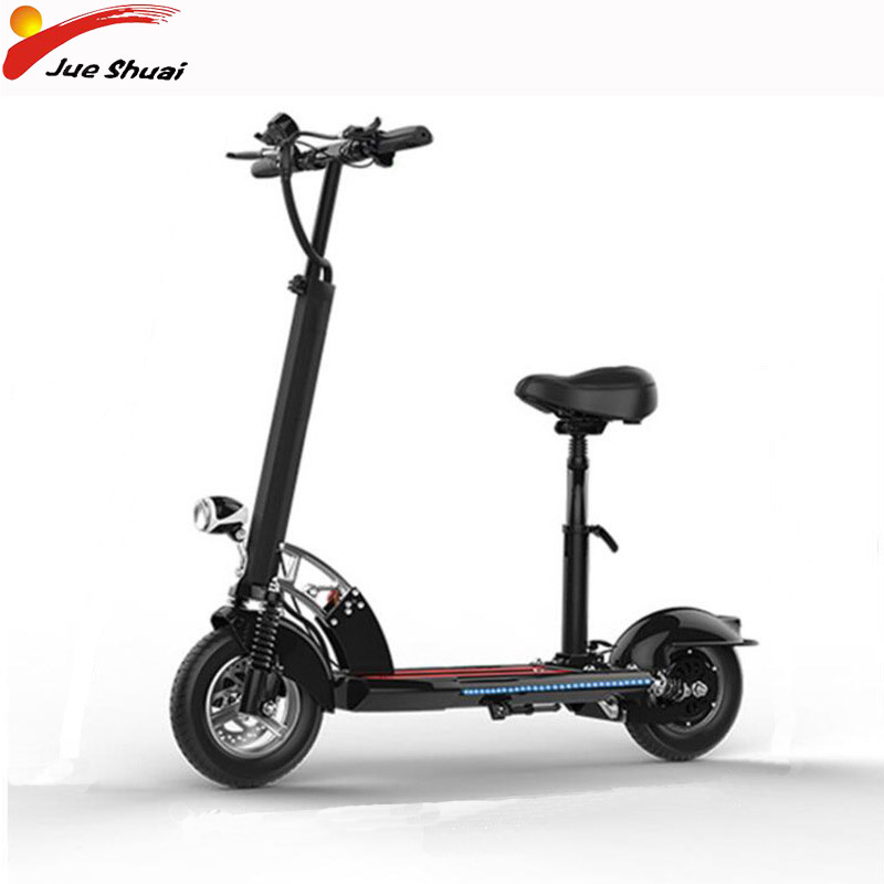 10 Inch Tire Electric Scooter for Adult 48V 500W Brushless Motor Silver/Black Fldable Skateboard with Seat Patinete Electrico