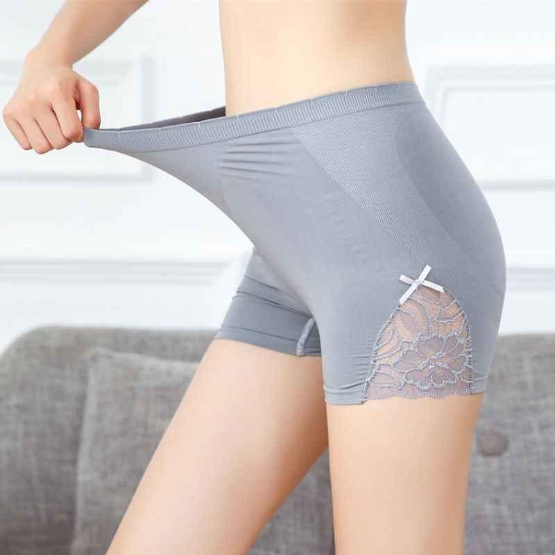 Women Safety Celana Pendek Renda Bunga Sisi Keselamatan Pant Pinggang Tinggi Elastis Warna Solid Katun Lembut Seamless Celana Safety