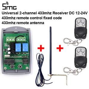 Código rolante de 2 canais e receptor remoto de código fixo, 433.92mhz + 2 peças 433.92mhz 1527 código de aprendizagem remoto controles