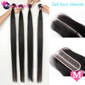 Silkswan Human Hair Straight Middle Ratio Bundles With 2X6 Lace Closure Deep Part 30-40 Inch Remy Hair Extension For Women Weave