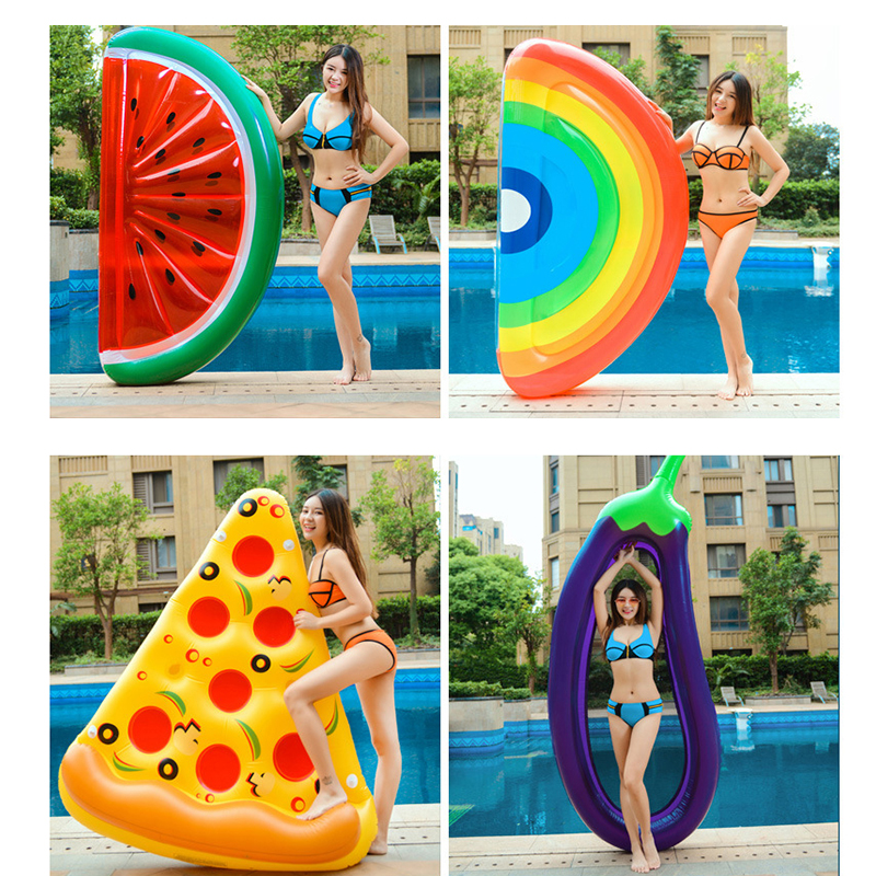 Inflatable Swimming Ring Giant Rainbow Pizza Banana Pool Lounge Adult Pool Float Mattres Life Buoy Raft Swimming Water Pool Toys