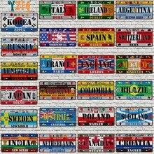 Plaque d'immatriculation du drapeau National du mexique et de l'espagne, plaque en métal, pour mur, maison, Restaurant, décor artisanal, 30x15cm