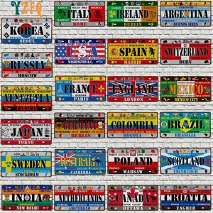 【YZFQ 】30X15CM Mexico Spain National Flag Metal Sign Colombia USA License Plate For Wall Home Restaurant Craft Decor DC-1512A