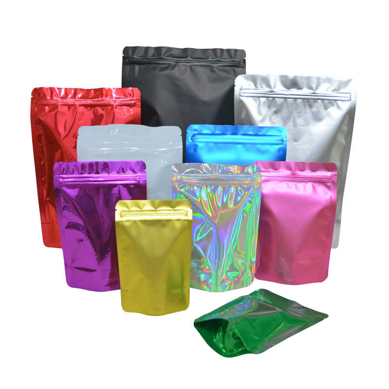 100 個色スタンドアップジップロックバッグ箔ポーチアルミ箔立ちポーチ、食品収納スタンドアップジップロ送料無料