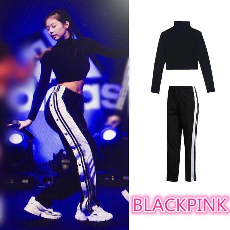 Kpop Blackpink JENNIE Same Streetwear Sexy Loose Black High Waist Pants Women Korean Slit Casual Side Buckle Wide Leg Trousers