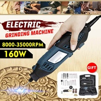 2 in 1 Electric Grinder Machine 160W 35000RPM Woodworking Wood Carving Knife Carving Drill Rotary Tool Kit With Accessories