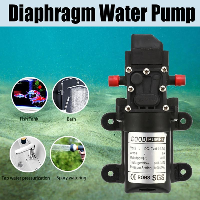 130PSI Mini Water High Pressure Switch Diaphragm Auto-stop Water Pump 12V 70W