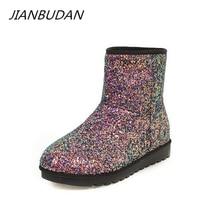 JIANBUDAN Bling snow boots Womens Big size Winter warm cotton Pu leather plush comfortable flat 34-43
