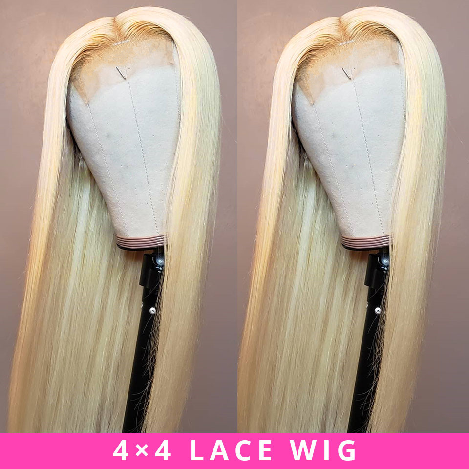 Brazilian Lace Wig 4*4 Straight Lace Closure Wig Human Hair Wigs 613 Blonde Wig Pre-plucked With Baby Hair Jazz Star Non Remy