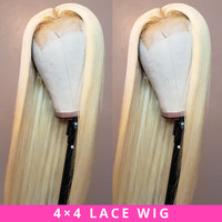 Brazilian Lace Wig 4*4 Straight Lace Closure Wig Human Hair Wigs 613 Blonde Wig Pre plucked with Baby Hair Jazz Star Non Remy
