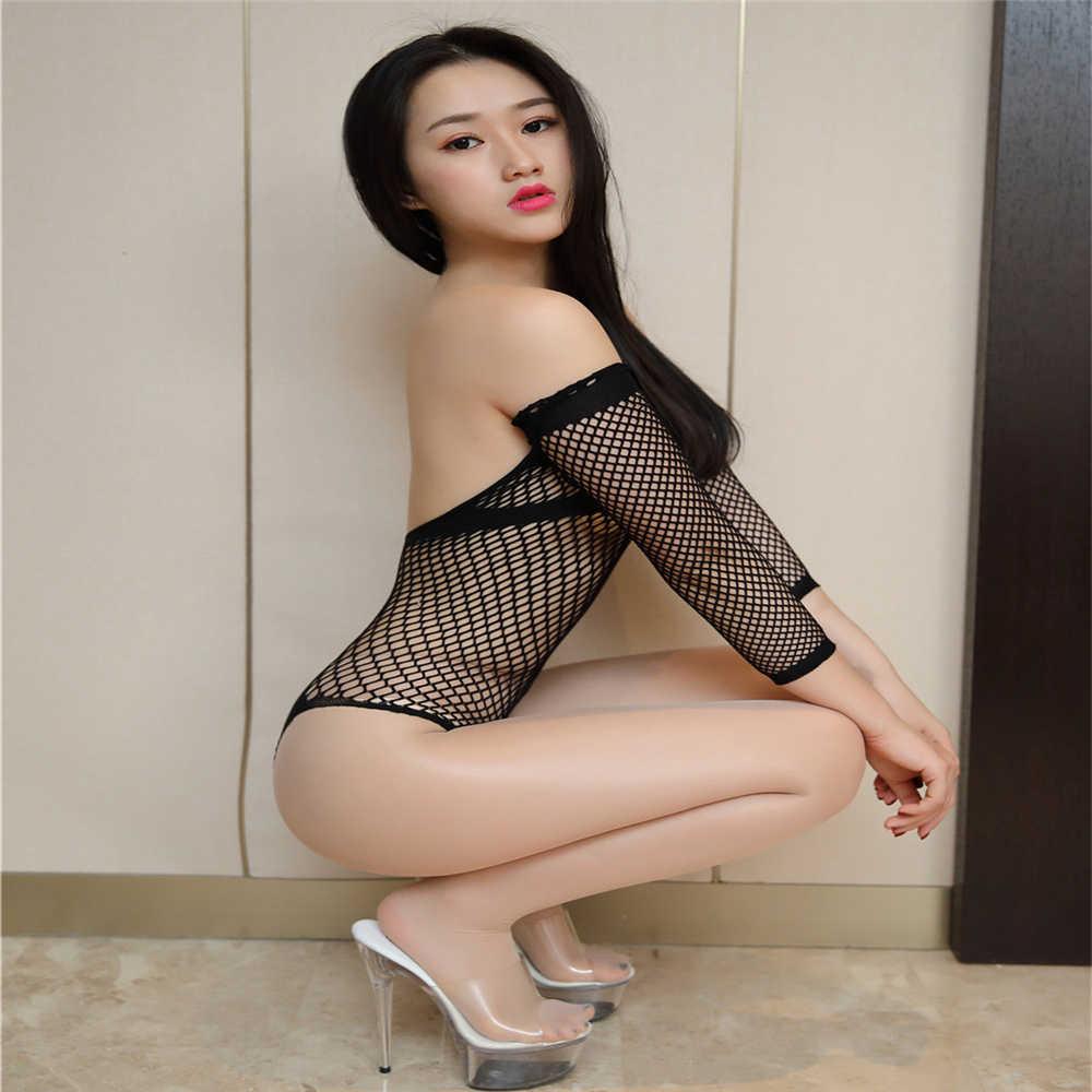 Sexy Bodysuit Babydolls Korsetten Kostuum Erotische Lingerie Voor Vrouwen Bustier Crotchless Halterneck Bodystocking Sex Visnet Kleding