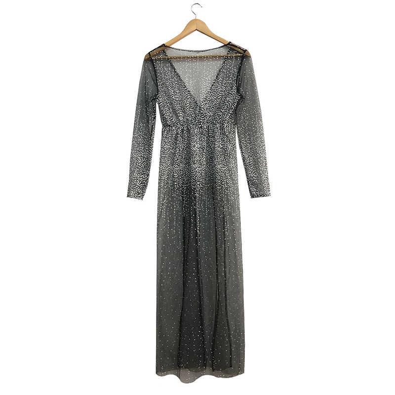 Yaz seksi derin v yaka elbiseler kadın uzun örgü elbise kadın uzun kollu transparan elbise bayan gece elbisesi pullu Maxi elbise