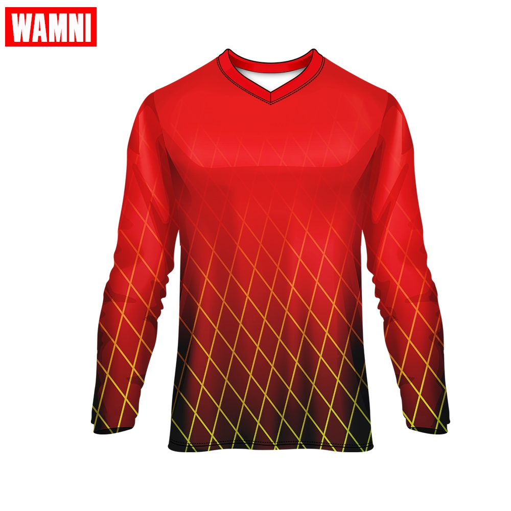 WAMNI Sports V-Neck Long Sleeve Thin Tee Running American Football Jerseys 3D Gradient Quick drying Top Loose Tshirt image