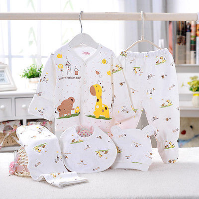 Hot Lovely 0-3M Baby Clothes Set  Newborn Boys Girls Soft Underwear Animal Print Shirt And Pants Cotton Clothing 5 Pcs