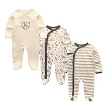 3 Pçs/lote junmpsuit newbron inverno Macacão de Bebê conjunto De Manga Longa de algodão do bebê meninas ropa bebe bebê menino roupas de menina