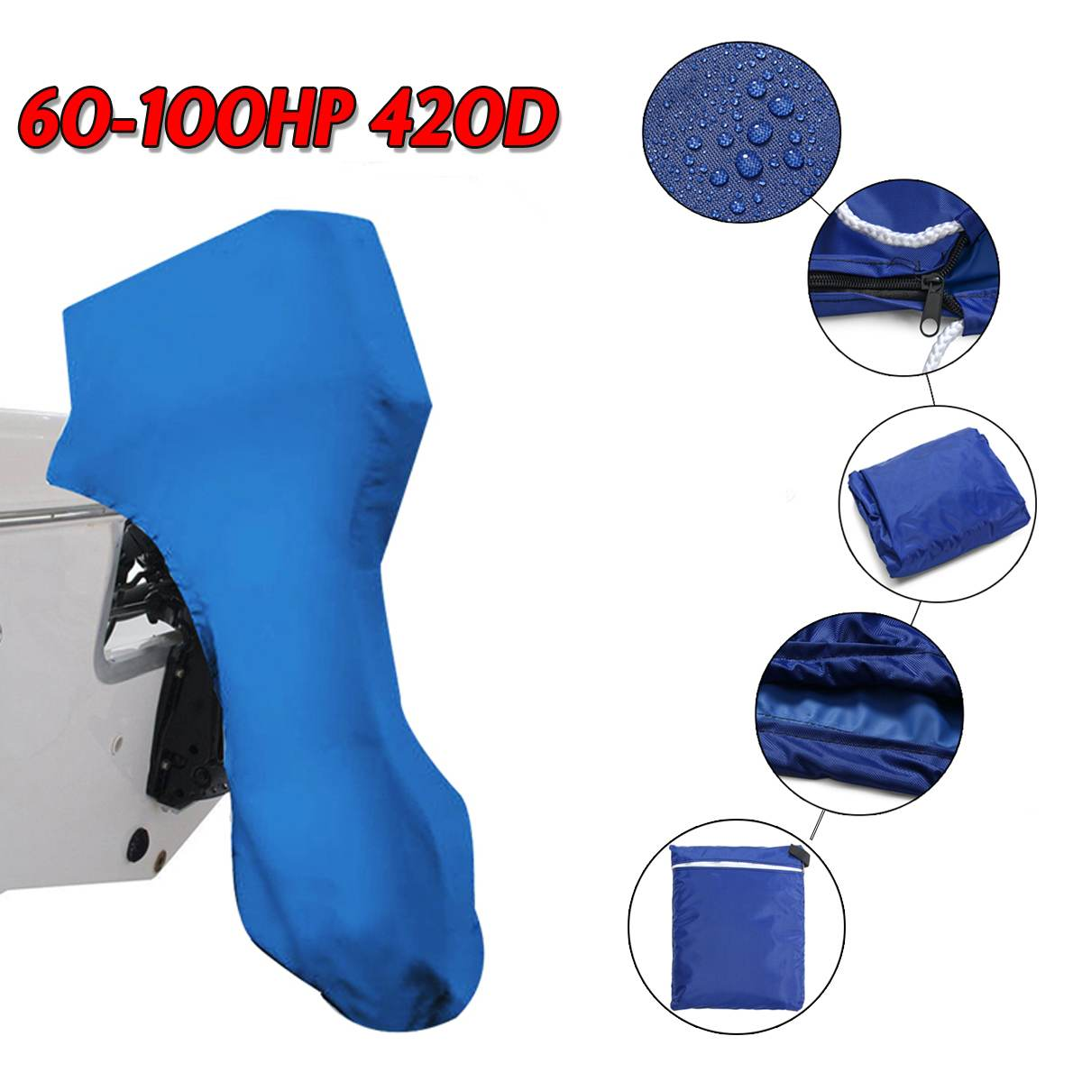 420D 60 100HP Boat Full Outboard Engine Motor Cover Waterproof Blue For 60 100HP|Boat Cover| |  - title=