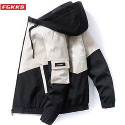 FGKKS Trendy Brand Men Hooded Jackets Autumn Men Fashion Hip Hop Jacket Coat High Street Patchwork Casual Jacket Male