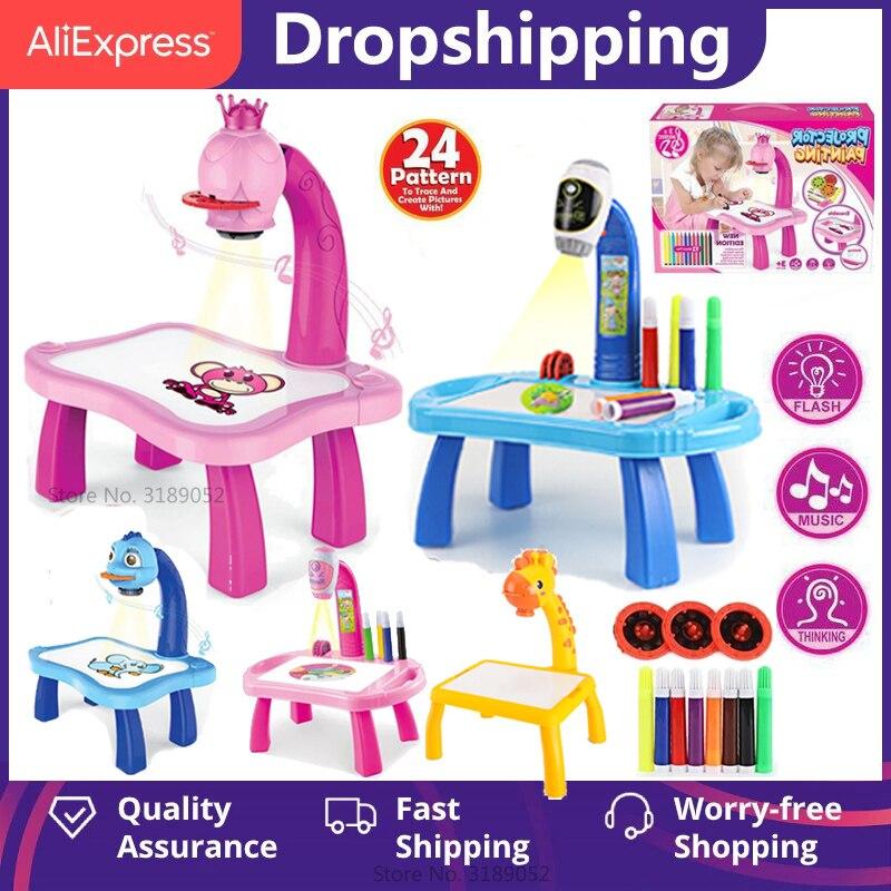 Детский светодиодный проектор, художественный стол для рисования, игрушки, детская доска для рисования, проекция декоративно-прикладного и...