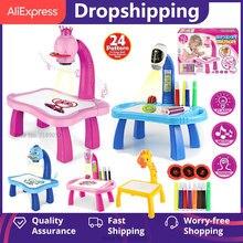 Led projetor de desenho mesa brinquedos crianças pintura placa mesa com luz música aprendizagem educacional crianças presentes brinquedo dropshipping