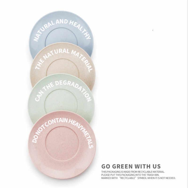 4 개/대 크리 에이 티브 순수 자연 비 독성 밀 짚 접시 접시 다기능 플라스틱 음식 과일 접시 디저트 접시 트레이 h219