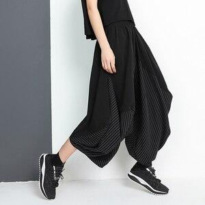 [EAM] High Elastic Waist Black Striped Split Long Harem Trousers New Loose Fit Pants Women Fashion Tide Spring Autumn 2020 1W502