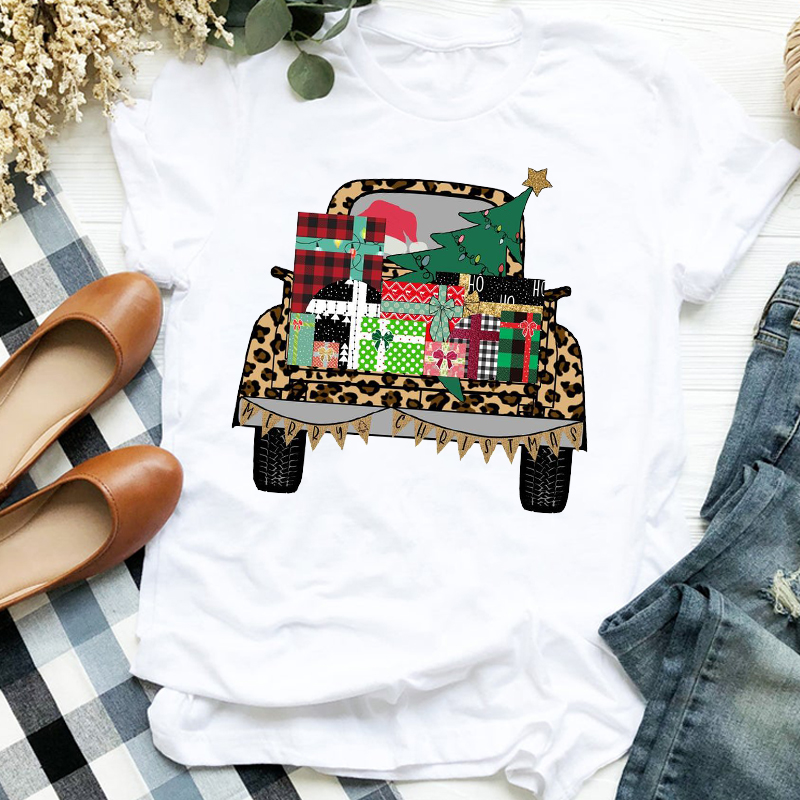 Women Lady Leopard Truck Tree Autumn Winter Merry Christmas Womens Clothes Shirt T Tee for Tshirt Female Top Graphic T-shirt 6