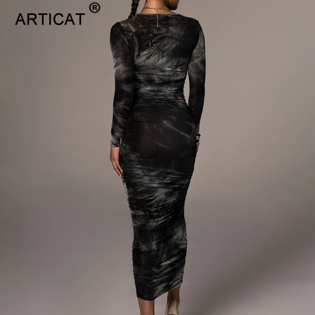 Articat Tie-Dye Print Ruched Christmas Dress For Women Long Sleeve Sexy Bodycon Winter Dress Elastic Pleated Casual Party Dress 5