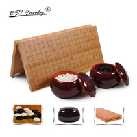 BSTFAMLY Go Chess 19 Road 361 Pcs/Set Chessman Diameter 2.2cm Wood Foldable Chessboard and Jar Chinese Old Game of Go Weiqi G14