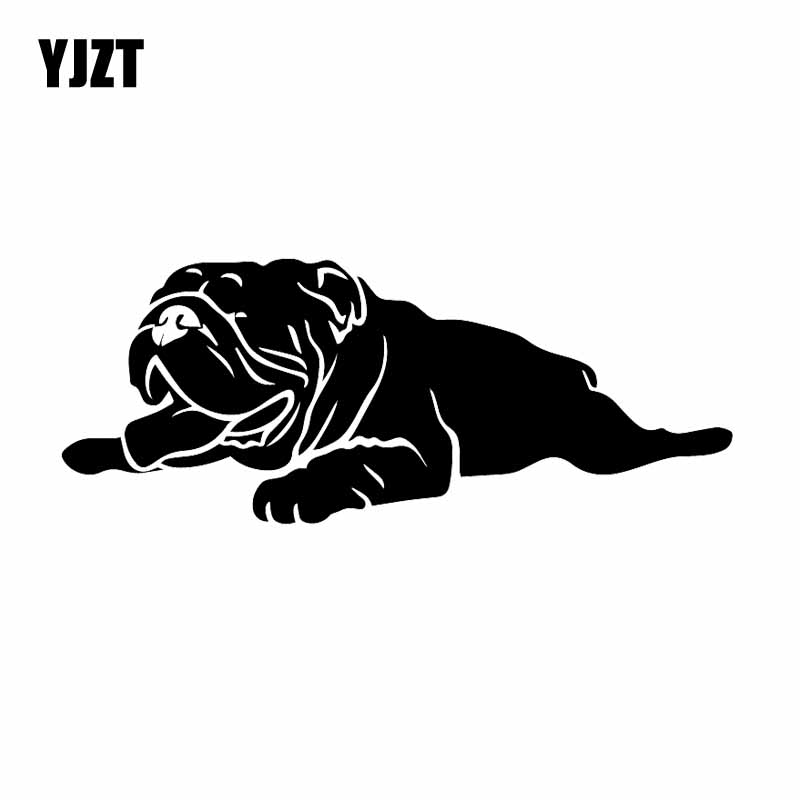 YJZT 18.2X7.2CM Creative Vinyl Decal English Bulldog Pet Animal Car Stickers Funny Dog Black/Silver C24-1496