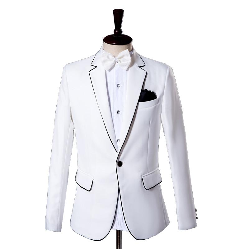 Men's Classic White Suit Set With Black Edges Single Buttons Notched Lapels Casual Suit Slim Banquet 2 Piece Sets(jacket+pant)