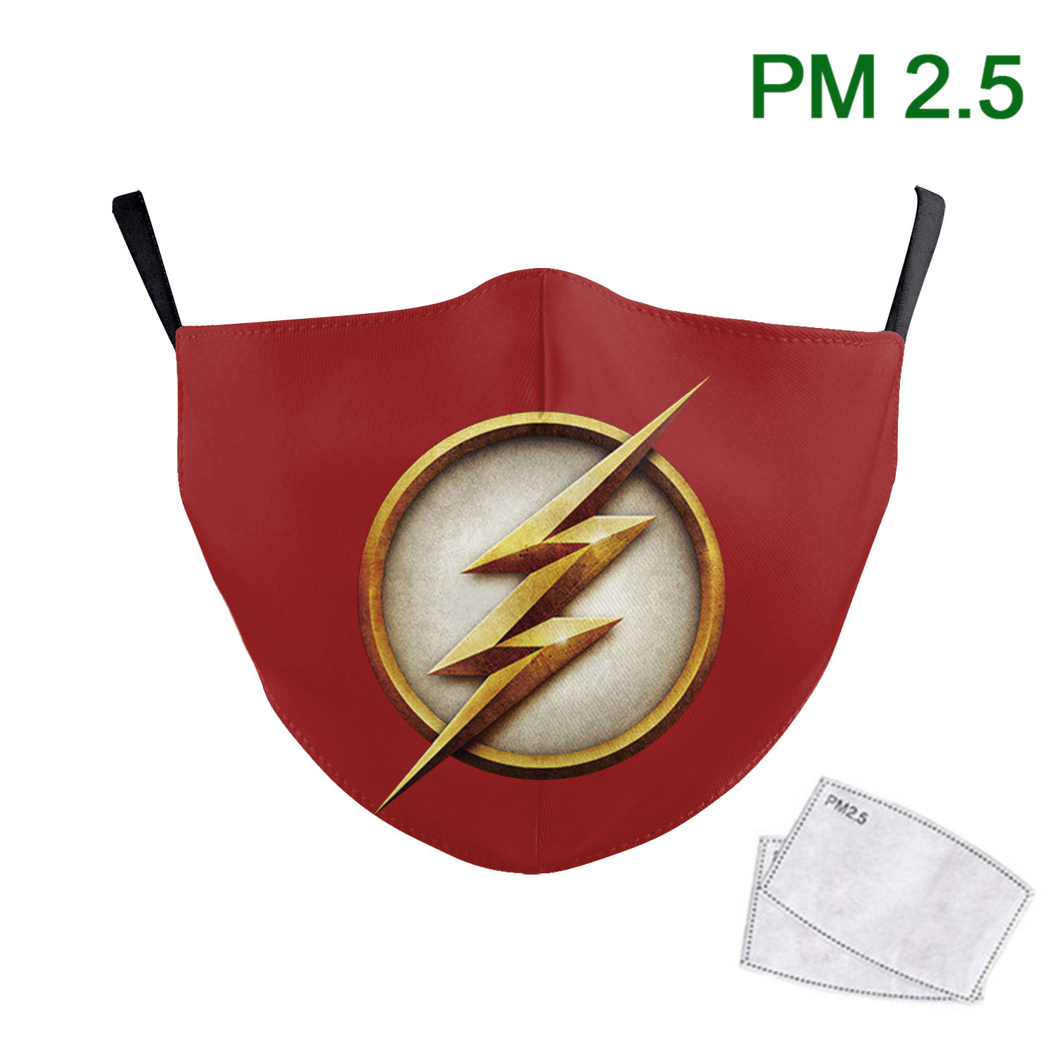 Adult Mouth Face Mask Reusable PM2.5 Protective Dust Filter Printed Superhero The Flash Washable Fabric Earloop Mouth Muffle