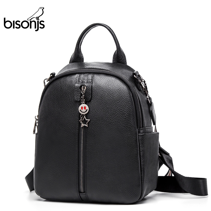 BISONJS Genuine Leather Women's Backpack Large Capacity School Bag For Girls Fashion Female Black Shoulder Bags B1798