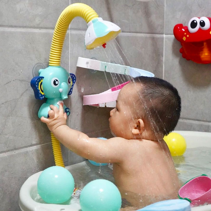 Electric Elephant Water Spray Bath Toys For Kids Baby Bathroom Bathtub Faucet Shower Toys Strong Suction Cup Children Water Game