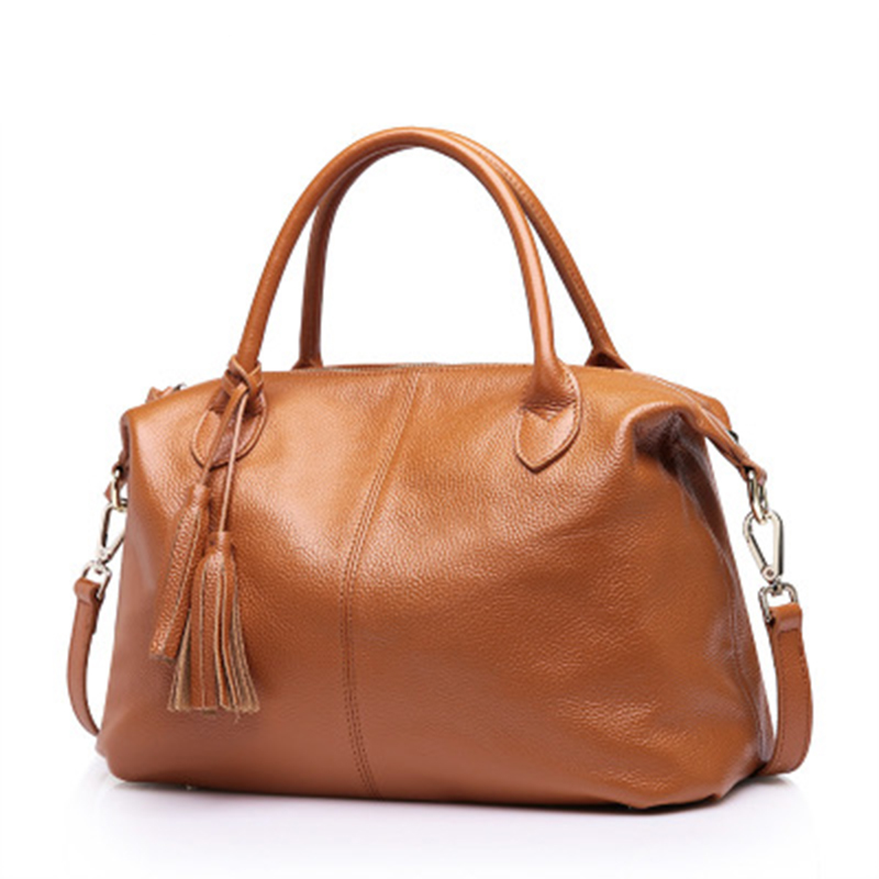 TOP BRAND WOMEN BAG Leather handbags solid color portable drum bag female 2019 summer new style