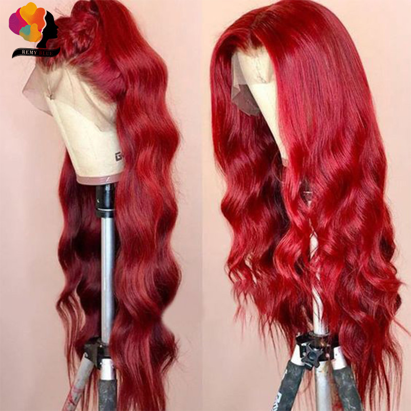 Remyblue Red Body Wave Lace Front Human Hair Wigs 99J Red Burgudny Peruvian Remy Human Hair Wigs Lace Front Wig 13x4 Pre-Plucked