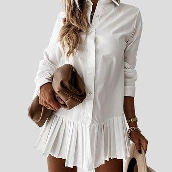 Vestido corto informal plisado de manga larga para otoño, minivestido blanco con...
