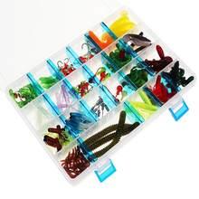 146 pçs/caixa macio conjunto de isca de pesca chumbo jig cabeça gancho kit grub worm suave iscas pesca shads silicone gancho de pesca enfrentar caixa
