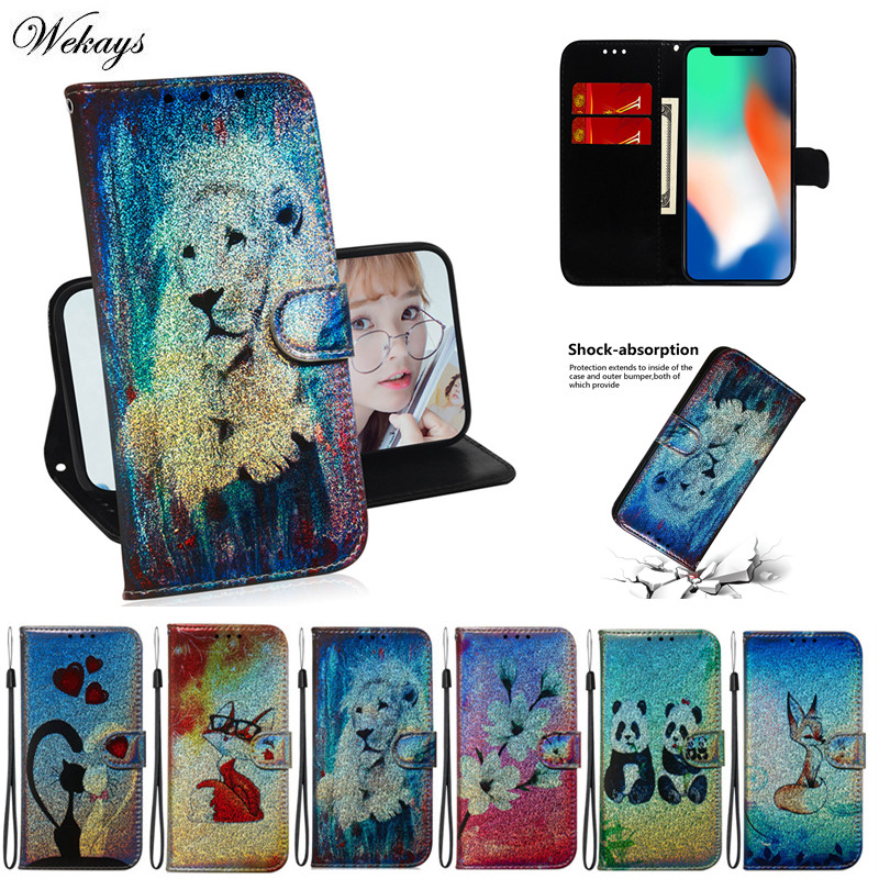 Cartoon Lion Panda <font><b>Glitter</b></font> Leather Wallet Phone <font><b>Case</b></font> For <font><b>Nokia</b></font> 1 3.1 plus 3.2 4.2 8.1 2.2 3.1 5.1 6.1 <font><b>7.1</b></font> <font><b>Cases</b></font> Flip Stand Cover image