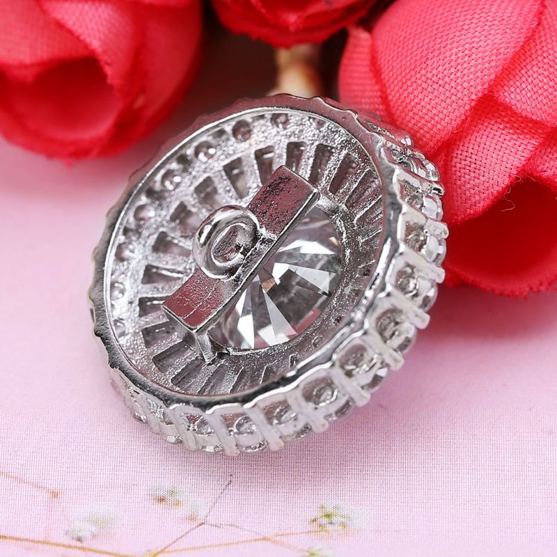1Pc 1Pc 24mm Luxury Glitter Zircon 3 Layer Round Shape Decorative Buttons With Metal Loop Shank Hole Sewing Clip Buckle DIY