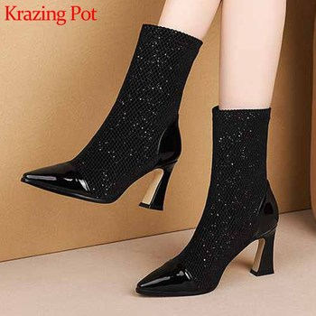 Krazing Pot shiny bling cow leather pointed toe patchwork stretch fabric high heels European women big size mid-calf boots L62