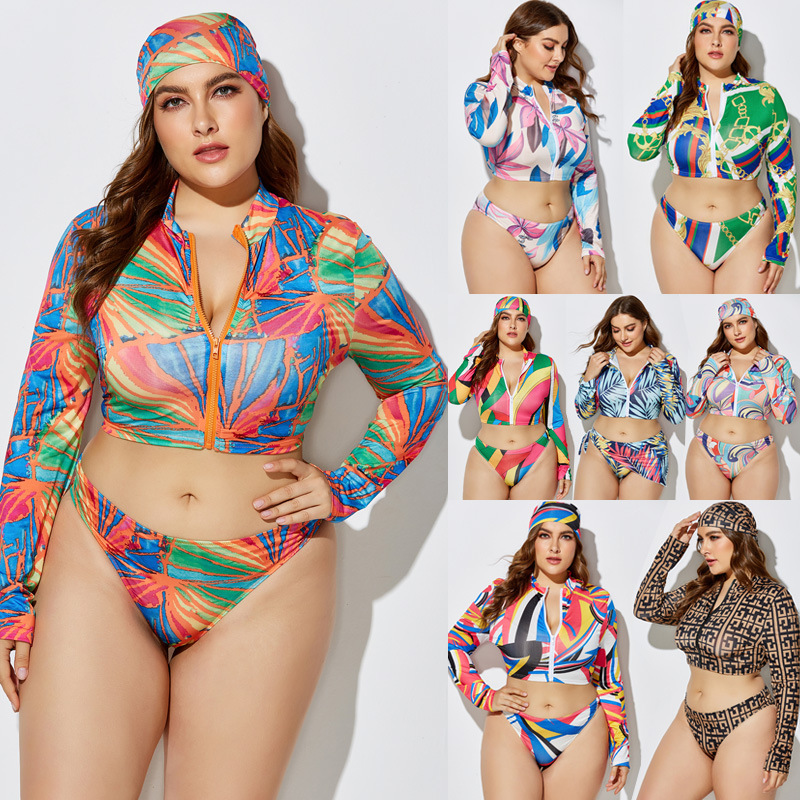 Women Bikini Set Plus Size Zip Long Sleeve Crop Top+Shorts Suits With Headscarf 3 Pieces Multicolor Print Three Piece Set