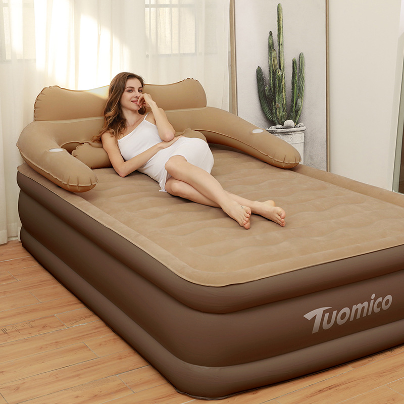 152*203*48CM Double Person Use Comfortable Collapsible Inflatable Camping Bed Inflatable Mattress Air Bed Sleeping Mat