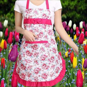 Oil-proof Cooking Apron For Women Adjustable Kitchen Cooking Coffee Shop Flower Printed Bowknot Cleaning Aprons With Pocket 1