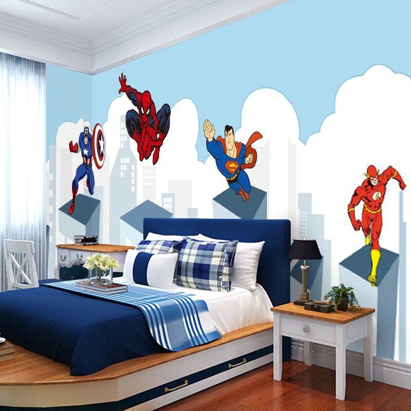 Marvel 3D Cartoon America Captain Wallpaper CHILDREN'S Room Boy Bedroom Wall Wallpaper Spider-Man Large Mural
