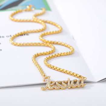 Customized Fashion Stainless Steel Name Necklace Personalized Zircon Letter Gold Choker Necklaces Pendant Nameplate Gift BFF customized women jewelry fashion stainless steel name necklace personalized letter gold choker necklace pendant nameplate gift