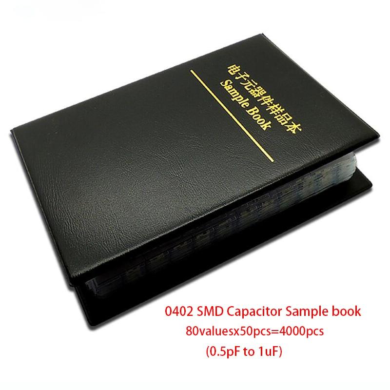 0402 Япония muRata SMD конденсатор с алюминиевой крышкой, книга с образцами набор сортированных 80valuesx50pcs = 4000 шт (0.5pF до 1 мкФ)
