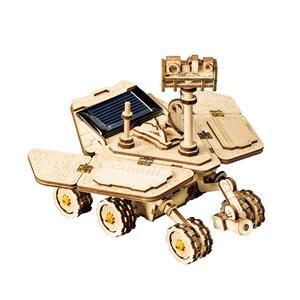 Image 4 - Robotime rokr diyソーラーエネルギー木製ブロックおもちゃモデル構築キットスペース狩猟組立おもちゃ子供のため
